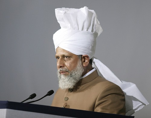 the Khalifa of Islam, Hazrat Mirza Masroor Ahmad (for the source of the image see link)
