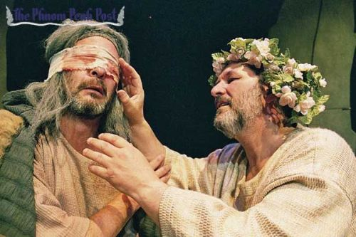 The character of the Earl of Gloucester is comforted after being blinded in the TNT theatre production of King Lear.