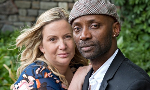 Kim Jones and former partner Deen Taiwo, victims of hate crime, a 'horror story' now being made into a film. Photograph: Sophia Evans for the Observer