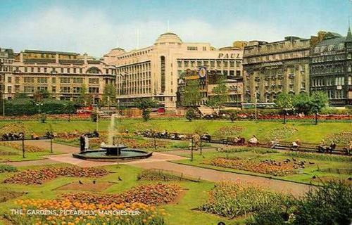 Piccadilly Gardens old postcard