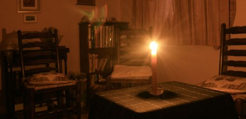 Candle lit room