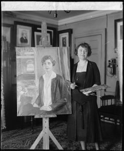 From the Library of Congress Photo Collection,Juliet Thompson with her portrait of First Lady Grace Coolidge (for source see link)