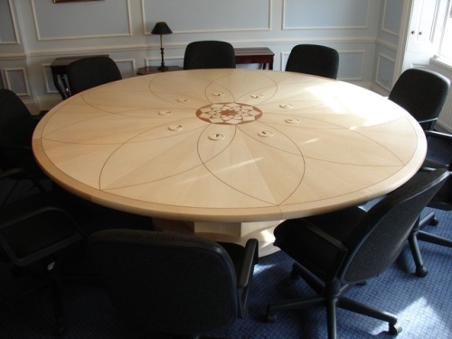 This is a photograph of the table around which the nine members of the UK National Spiritual Assembly consult at their meetings.