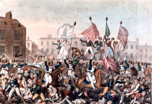A painting of the Peterloo Massacre published by Richard Carlile