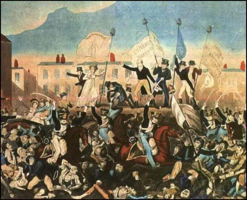 Print of the Peterloo Massacre published by Richard Carlile (for source of image see link)