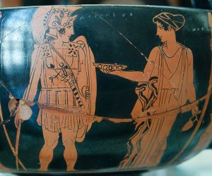 Achilles and the Nereid Cymothoe: Attic red-figure kantharos from Volci (Cabinet des Médailles, Bibliothèque nationale, Paris)