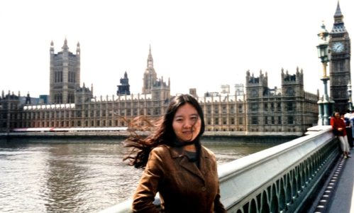 Xiaolu as a new arrival in London in 2002, outside the Houses of Parliament